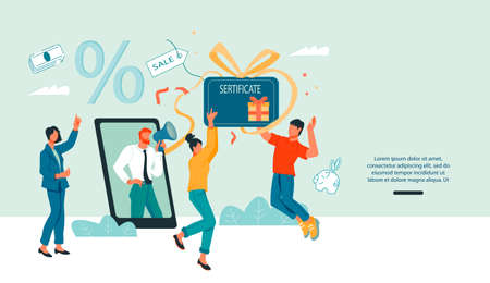 Gift card and sales promotion web banner template with buyers characters who happy to get a gift voucher or certificate. Discount coupon and program of customers loyalty, flat vector illustration. 일러스트