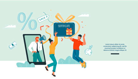 Business marketing website banner of customers loyalty program and e-commerce with buyers getting shopping gift certificate or voucher and businessman announcing sale, flat vector illustration.