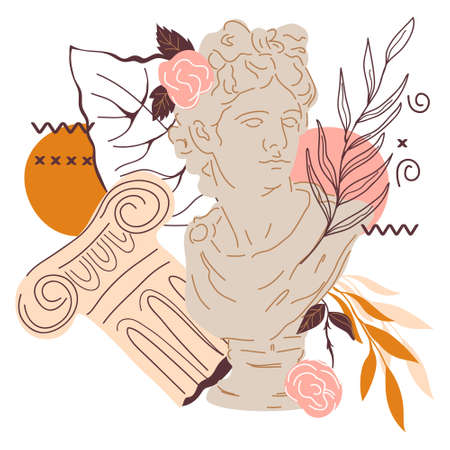Creative decorative image with statue of Greek god Apollo and plants, flat vector illustration isolated on white. Ancient Greek sculpture decorated with leaves and abstraction for cards and t-shirts.
