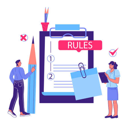 Business rules and main company policy concept with cartoon people standing next to huge clipboard with rules. Business regulation and corporate guidelines, cartoon vector illustration isolated. Vetores