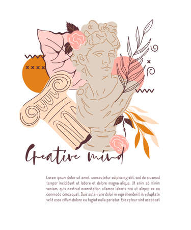 Card design with decorative creative image of statue of Greek god, Apollo. Decorative card or poster with trendy design element, flat vector illustration.