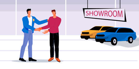 Car purchase scene with seller and buyer cartoon characters handshaking when concluding a deal in a dealership. Car sale deal in showroom, flat vector illustration.