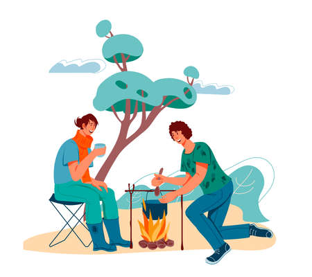 Romantic couple of tourists or campers in the forest, making a bonfire, flat vector illustration isolated on white background. Hikers resting at campsite.
