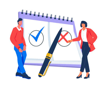 Compliance rules and law regulation business concept with business people people control regulation, flat vector illustration isolated on background. Compliance standard rules business technology. Vecteurs