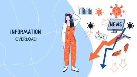 Information overload web banner interface with woman confused about a lot of news, flat cartoon vector illustration. Information overloading and stressful disturbing news.