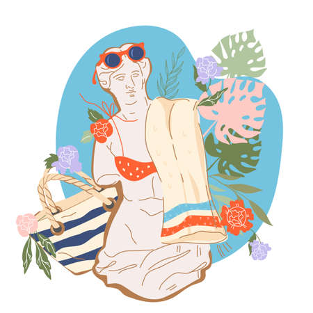 Summer banner or print design with Greek sculpture of Venus goddess with beach supplies, flat vector illustration isolated on white background. Image on topic of sea vacation and summer travel.