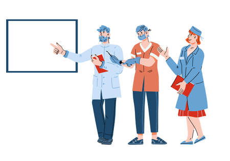 Doctors and medical professionals characters pointing at empty banner with copy space for text input, cartoon vector illustration isolated on white background. Friendly clinic or hospital staff.