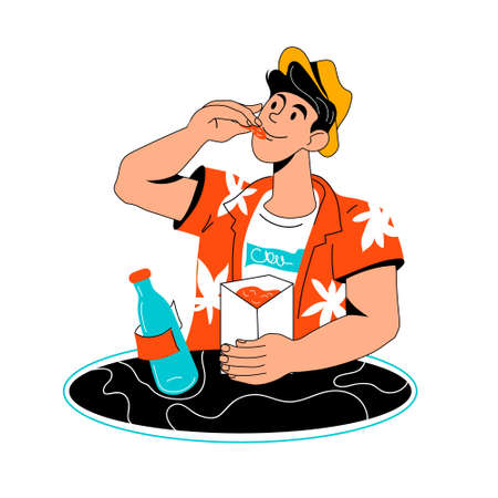Young man in a fast food restaurant eats from a box, cartoon vector illustration isolated on white background. Man snacking with chips and drinking soda water.