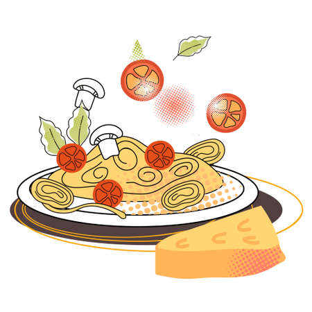 Spaghetti plate with tomato and cheese, flat cartoon vector illustration isolated on white background. Italian cuisine popular dish of spaghetti or pasta. Image for packaging and menu.