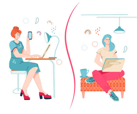 Freelancer vs office work concept with women working at home and in office. Comparing remote work with freelance working place, flat vector isolated on white. Vektorové ilustrace
