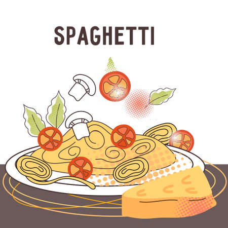 Banner or poster with Spaghetti plate and cheese, flat cartoon vector illustration. Italian cuisine dish of spaghetti or pasta card. Hand drawn image for packaging and restaurant menu.