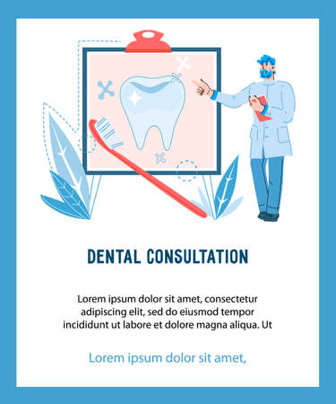 Dentist male character explaining oral care rules. Dental care and dentistry, cartoon vector illustration isolated on white background. Vector Illustration