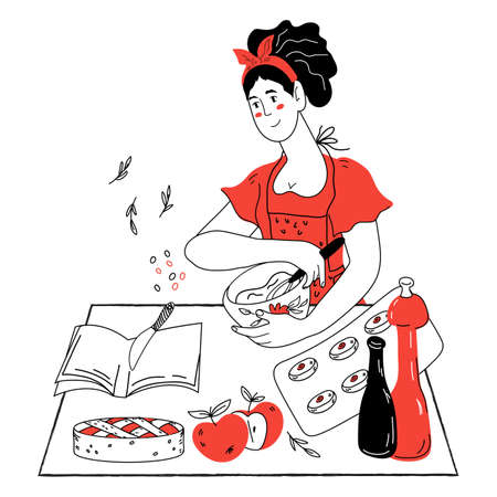 Woman preparing apple pie in her kitchen, hand drawn doodle style vector illustration isolated on white background. Cooking and food recipe book or culinary blog banner, hobby cooking.