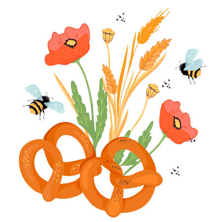 Pretzels with ears, poppy flowers and other plants elements, flat vector illustration isolated on white background. Traditional pretzel or bretzel for bakery or packaging design.