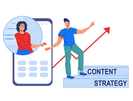 Content marketing strategy concept, flat vector illustration isolated on white. Engaging content and strategy for social media marketing. Manager showing to blogger how to improve promotion campaign.