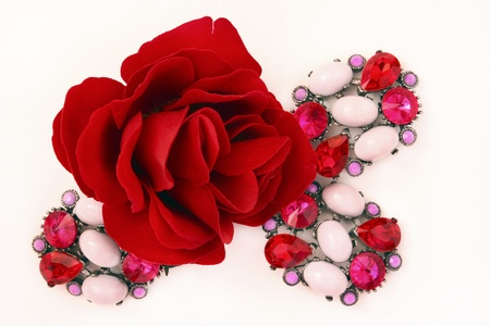Decorative rose and brooches