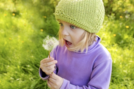 Little beautiful girl blows on a dandelion in the summer