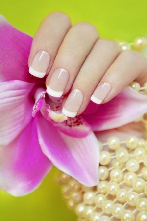manicura: Manicure francés sobre un fondo verde con una orquídea y perlas. Foto de archivo