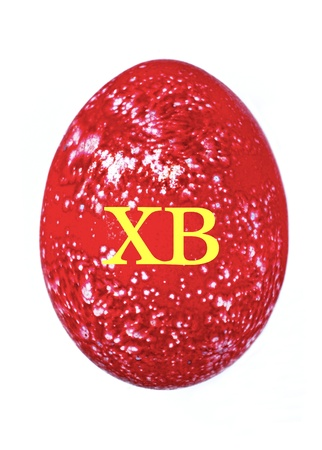 christ is risen easter: Red chicken motley egg is a symbol of Easter with the Russian inscription condensed Christ is Risen