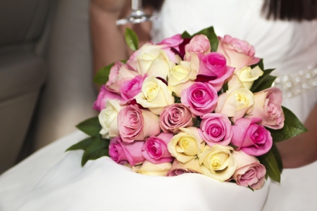 A beautiful wedding bouquet from roses of different colors