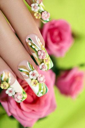 Summer acrylic roses on artificial nails with roses on a green background  photo