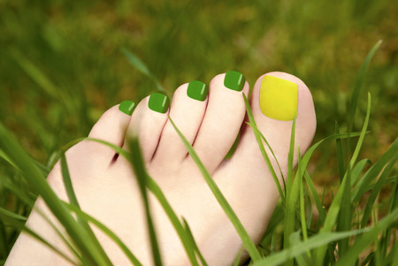 welfare plant: Two-tone pedicure yellow and green colours on the background of grass