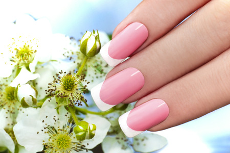 women s fashion:     French manicure with pink and white lacquer against the background of flowers