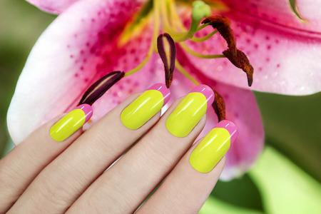 Juicy French manicure van twee kleuren op de achtergrond van lelies. Stockfoto