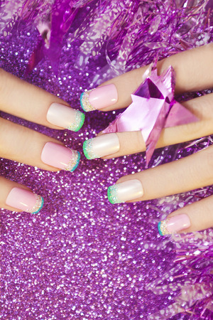 christmas manicure: Pastel Christmas French manicure with a garland.