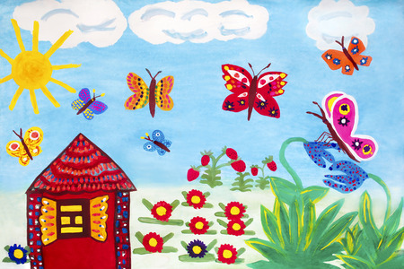 sun flowers: Children drawing with colorful butterflies, flowers, sun, clouds and a tree house with light in window. Stock Photo