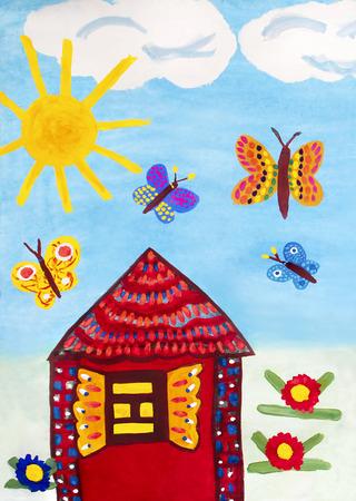 viviendas: Gráfico del niño con una casa, mariposas, sol, nubes y flores. Foto de archivo