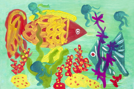 underwater world: Childs drawing of the underwater world with two fish and seaweed. Stock Photo