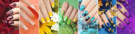 Regenbogen-Sammlung von Nageldesign für Sommer- und Winterzeit des Jahres mit Glitzer, Pailletten und verschiedene Dekorationen mit Blumen.