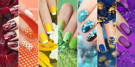 Colorful rainbow collection of nail designs for summer and winter holidays.