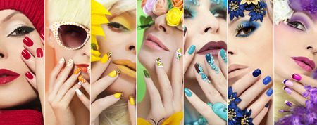 Rainbow colored makeup and manicure on nails with different designs on the girl for any time of the year.