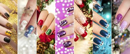 Colorful chiodi natalizi unghie invernali con glitter, strass, sulle unghie femminili corte e lunghe.