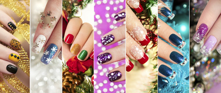 Colorful Christmas nails winter nail designs with glitter, rhinestones, on short and long female nails. Zdjęcie Seryjne - 68049385