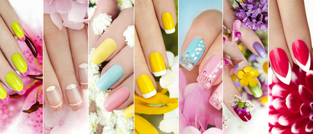 A collage of colorful summer manicure on female hand with flowers. Stock Photo