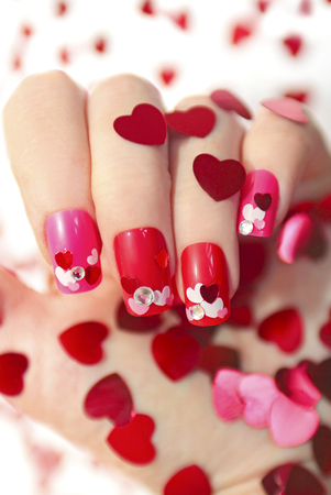 Nail Designs With Different Sequins In The Shape Of Hearts On