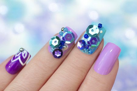 Multicolored Purple Blue Manicure With Design On Nails With Glitter