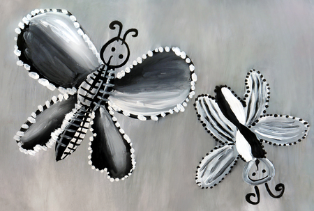 A childs drawing with black and white butterflies on a gray background.