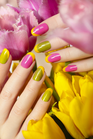 Yellow Green French Manicure With Pink Nail Polish And Tulips