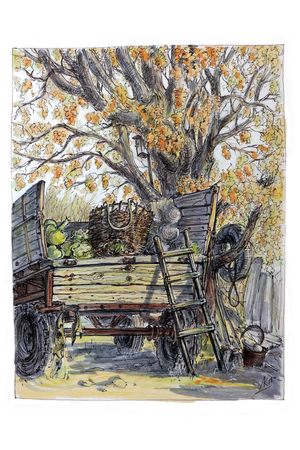 Illustration made of sketch felt-tip pen.Agricultural trailer.
