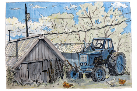 A sketch drawing with a felt-tip pen. A blue tractor stands next to a shed, with chickens walking around. Summer landscape. Stock fotó