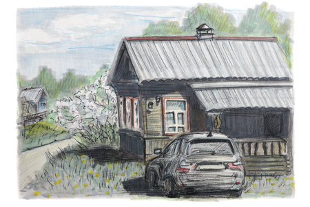 Figure made a sketch with a felt-tip pen. The car is parked near the village house. Summer landscape. Stock fotó