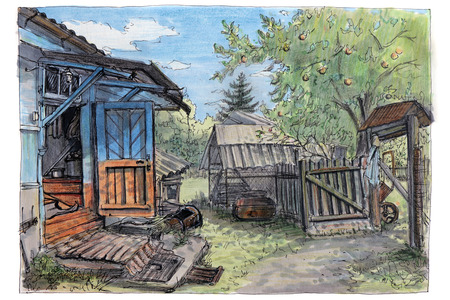 The felt-tip pen. A rural life. A summer in a village. An open door of a porch. Stock fotó