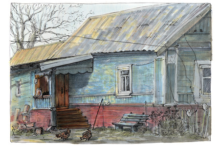 The picture is made by sketch with a felt-tip pen. Country life. Stock fotó