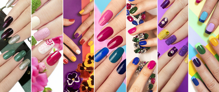 A diverse range of nail design.Solid color manicure with bright nail polishes. Color by nail art. Foto de archivo