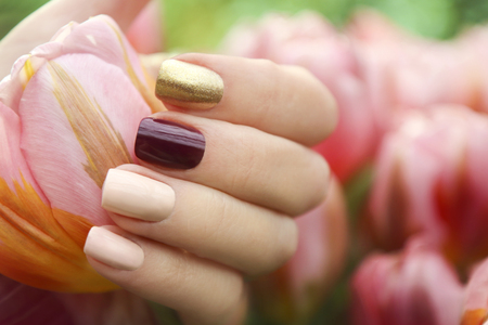 Multicolored short manicure Nail art summer spring collection.