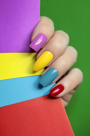 Colorful, bright, oval and square.Nail art.Summer creative nail design.